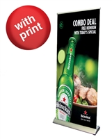 "Premium Retractable Roll Up Banner Stand 33"" with Vinyl Print"