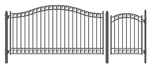 Set of ALEKO® DUBLIN Style Steel Swing Single Driveway 12 ft with Pedestrian Gate 4 ft