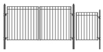 Set of ALEKO® MADRID Style Steel Swing Dual Driveway 12 ft with Pedestrian Gate 4 ft