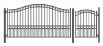 Set of ALEKO® PARIS Style Steel Swing Single Driveway 12 ft with Pedestrian Gate 4 ft