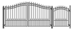 Prague Swing Dual Steel Driveway with Pedestrian Gate