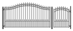 Set of ALEKO® PRAGUE Style Steel Swing Single Driveway 12 ft with Pedestrian Gate 4 ft