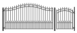 Set of ALEKO® ST.PETERSBURG Style Steel Swing Single Driveway 12 ft with Pedestrian Gate 4 ft