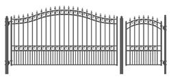 Set of ALEKO® LONDON Style Steel Swing Single Driveway 14 ft with Pedestrian Gate 4 ft