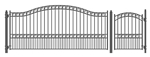 Set of ALEKO® PARIS Style Steel Swing Single Driveway 14 ft with Pedestrian Gate 4 ft