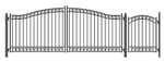 Set of ALEKO® DUBLIN Style Steel Swing Dual Driveway 16 ft with Pedestrian Gate 4 ft
