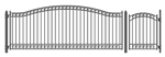 Set of ALEKO® DUBLIN Style Steel Swing Single Driveway 16 ft with Pedestrian Gate 4 ft