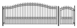 Set of ALEKO® LONDON Style Steel Swing Single Driveway 16 ft with Pedestrian Gate 4 ft