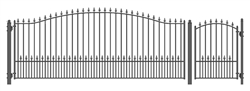 Set of ALEKO® MUNICH Style Steel Swing Single Driveway 16 ft with Pedestrian Gate 4 ft