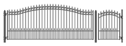 Set of ALEKO® PRAGUE Style Steel Swing Single Driveway 16 ft with Pedestrian Gate 4 ft