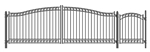 Set of ALEKO® DUBLIN Style Steel Swing Dual Driveway 18 ft with Pedestrian Gate 4 ft
