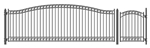 Set of ALEKO® DUBLIN Style Steel Swing Single Driveway 18 ft with Pedestrian Gate 4 ft