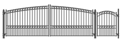 Paris Swing Dual Steel Driveway with Pedestrian Gate