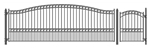 Set of ALEKO® PARIS Style Steel Swing Single Driveway 18 ft with Pedestrian Gate 4 ft