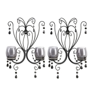 Midnight Elegance Black Metal Candleholder Wall Sconces