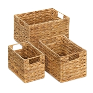 Woven Rectangular Nesting Baskets w/Handles 3PC
