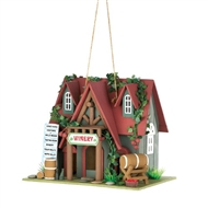 Winery Red Roof Wood Cottage Birdhouse