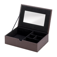 Faux Leather Mirrored Keepsake Box