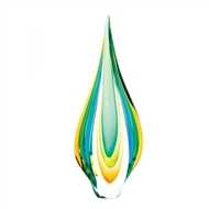Green Gold Blue Art Glass Statue
