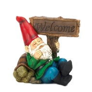 Welcome Gnome Solar Light Figurine
