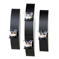 Contemporary Black Wall Candle Sconces Set of 3