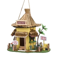 Tiki Hut Yellow Wood Birdhouse