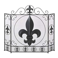 Fleur-de-lis 3-Panel Fireplace Screen