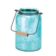 Blue Glass Candle Jar Lantern