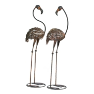 Wild Flamingo Garden Statue Set of 2