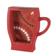 Distressed Red Wooden Coffee Cup Shelf
