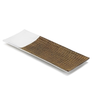Silver & Brown Aluminum & Ceramic Rectangular Dish