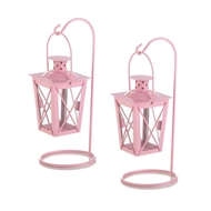 Pink Hanging Railroad Candle Lanterns w/Stands 1pr