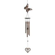 "Butterfly & Heart Metal & Wood Windchime 31.5"" long"