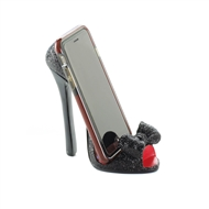 Black-Bow Open-Toe High Heel Shoe Phone Holder