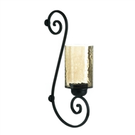 Scrollwork Iridescent Glass Candle Wall Sconce