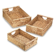 Hyacinth Rectangular Nesting Baskets w/Handles Set of 3