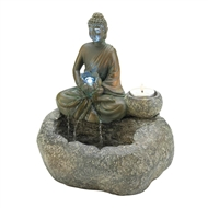 Buddha Tabletop LED Water Fountain Candleholder