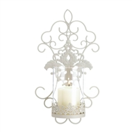 Romantic Lace Ivory Pillar Candle Wall Sconce