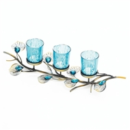 Peacock Blue Plume Candle Centerpiece