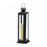 Tall Sleek and Lean Black Star Cutout Candle Lantern