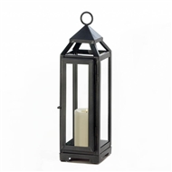 Tall Slate Metal Candle Lantern