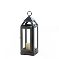Small Slate Metal Candle Lantern