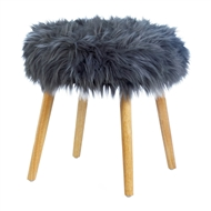 Chic Gray Faux Fur Stool