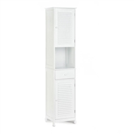 Nantucket Tall Double Door White Floor Cabinet