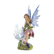 Garden Fairy With Flower Solar Statue