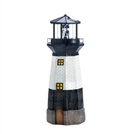 Black and White Rotating Light Solar Powered Lighthouse