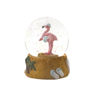 Flamingo Holding Beach Ball Snow Globe