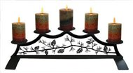 Pine Cone Fireplace Black Metal Pillar Candle Holder