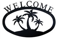 Palm Trees Black Metal Welcome Sign Large