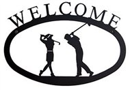 Two Golfers Black Metal Welcome Sign Large